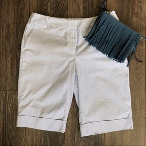 Blue and White Pinstriped Bermuda Shorts